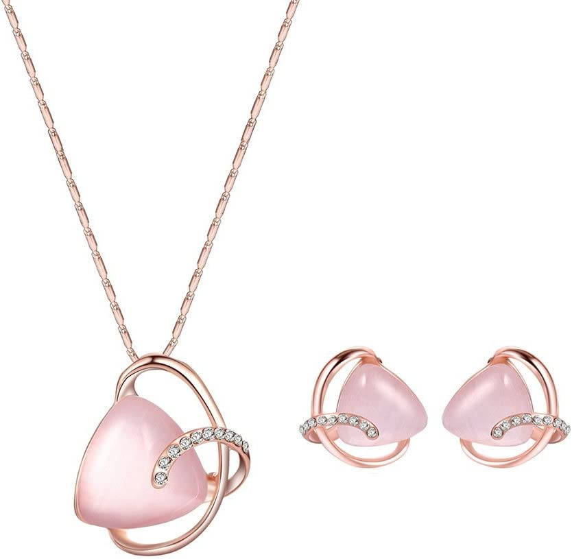 Urns Ashes Funeral Elegant Triangle Faux Opal Rhinestone Pendant Necklace Stud Earrings Wedding Women Jewelry Set,Colour Name:Pink Pet Memorial Dog cat Urn (Color : Pink)