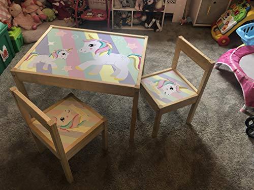 MakeThisMine, Mesa Infantil Personalizada y 3 sillas de Madera IKEA Latt Pastel...