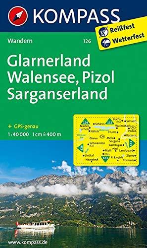 Glarnerland - Walensee - Pizol - Sarganserland: Wanderkarte. GPS-genau. 1:40000 (KOMPASS-Wanderkarten, Band 126)