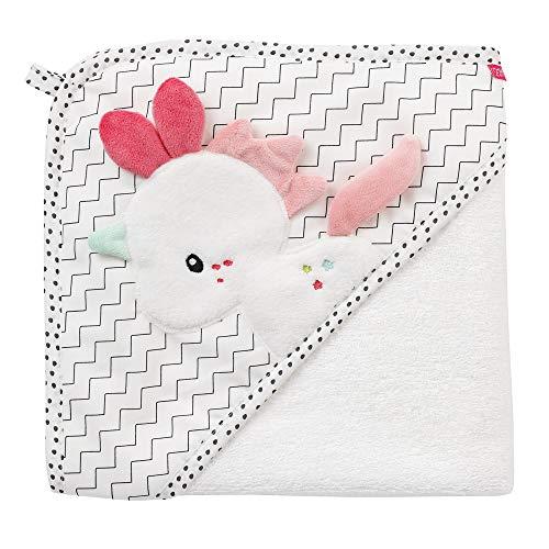 Fehn 057263 badhanddoek met capuchon, eenhoorn/bad-poncho, van katoen, met schattige eenhoorn, voor baby's en peuters vanaf 0+ maanden