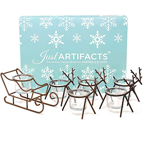 Just Artifacts 1pc Sleigh and 5pc Reindeer Tea Light Candle Holders (6pcs Kit, Rustic Bronze) - Festive Holiday Décor for Christmas