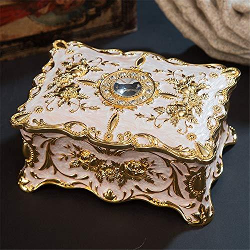 Caja de Joyería Estilo europeo regalo de boda del anillo de los pendientes joyería de almacenamiento caja del tesoro de la decoración del hogar epoxi esmalte de color de aleación de zinc para Mujeres