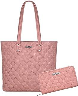 Urban Forest Rose Pink Leather Handbag & Leather Wallet Set for Women
