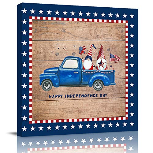 HOMMOU Póster de lienzo para pared, diseño de bandera de Estados Unidos, para cocina, baño, sala de estar, dormitorio, 40,6 x 40,6 cm