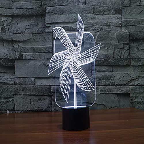 Yyhmkb Verde Lamparas De Mesa Modernas Biblioteca Lamparas De Mesa Molino De Viento Lámpara 3D Lámpara De Mesa Táctil Creativa Luz De Noche Para Niños Led De Ahorro De Energía