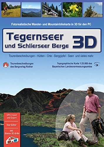 Tegernseer und Schlierseer Berge 3D, 1 DVD-ROM Fotorealistische Wander- und Mountainbikekarte in 3D für den PC. Tourenbeschreibungen, Hütten, Orte, ... mehr. Für Windows 2000/XP/Vista. 1 : 25.000