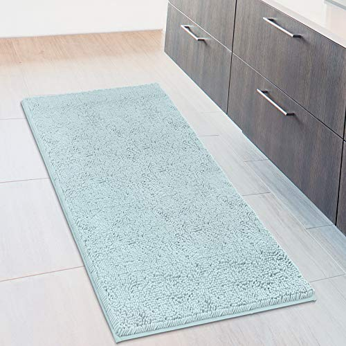 MAYSHINE Bath Mat Runners for Bathroom Rugs, Long Floor Mats, Extra Soft, Absorbent, Thickening Shaggy Microfiber, Machine-Washable, Perfect for Doormats,Tub, Shower (27.5x47 Inches, Spa Blue)