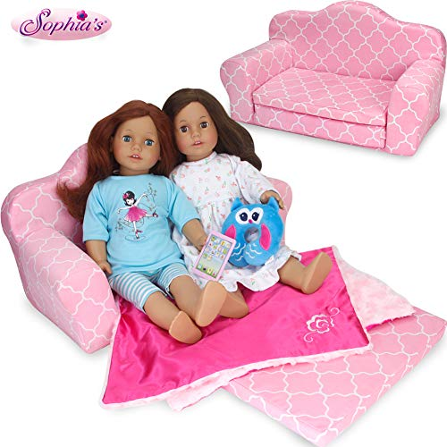 Sophia's Doll 2-in-1 Pink Doll Bed Furniture Pull Out Sofa Bed | Plush Couch for Dolls Converts to Double Bed Perfect for Your American Doll and More!