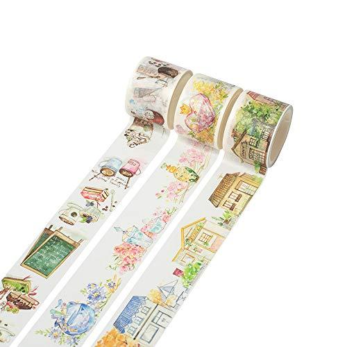 和紙マスキングテープ 3個セット 装飾マスキングテープコレクション 様々な こーひーしきこうすい DIYクラフト ギフトラッピング クリスマスパーティー用品 マルチカラー 3 TAPE (コーヒー)