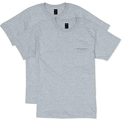 Hanes Men's 2 Pack Short Sleeve Pocket Beefy-T, Light Steel, X-Large