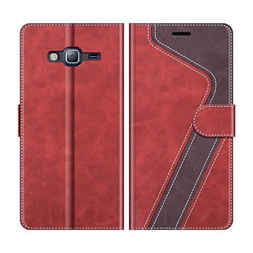 MOBESV Handyhülle für Samsung Galaxy J3 2016 Hülle Leder, Samsung Galaxy J3 2016 Klapphülle Handytasche Case für Samsung Galaxy J3 2016 Handy Hüllen, Modisch Rot