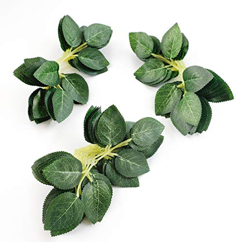 Floroom Artificial Green Leaves 35pcs Bulk Silk Greenery Fake Rose Flower Leaves for DIY Wedding Bouquets Bridal Shower Centerpieces Party Decorations