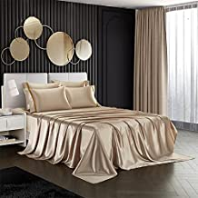 RevenRella 6 Piece Satin Bed Sheet Pillowcases Set Deep Pocket Super Soft 1800 Series Rich Silk Silky Luxury Solid Color Honeymoon Hypoallergenic Reversible Stain-Resistant Wrinkle Free (Taupe, Queen)