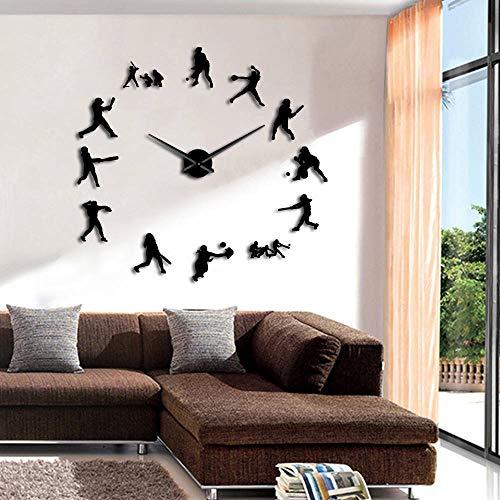 CHENWN Softbol Jugadoras DIY Relojes de Pared de Gran tamaño Efecto Espejo Decoración del hogar Mujeres Regalo Deportivo Agujas de Metal Grandes Reloj Gigante Reloj (Negro 、 47 Pulgadas)