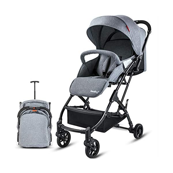 CYCPACK Gray Prams And Pushchairs From Birth - Quick Folding Portable Baby Stroller, Mothercare Journey Travel System Suitable for Babies Aged 0~3 CYCPACK Safe:With sturdy aluminum alloy, compact body and five-point seat harness,each stroller has been pressure tested to provide security for each baby.After using for a period of time, be sure to add lubricant to the bearings of the four wheels to prevent the wheels from being damaged by force. Quality and Design:The backrest of the stroller supports sitting, half lying, lying,all three angles,lengthened and widened sleeping basket. Four wheel independent shock absorbing and built-in bearings make it smoother and quieter. COMFORTABLE: Thanks to backrest and footrest adjustable into lying position, sun hood, practical cup holder tray, and large shopping basket both the parents and the child will be comfy 1