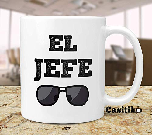 ChGuangm Gift Idea for Boss El Jefe 11 oz Coffee Mug Funny Quote in Spanish for The Bosses Regalo para Tu Jefe