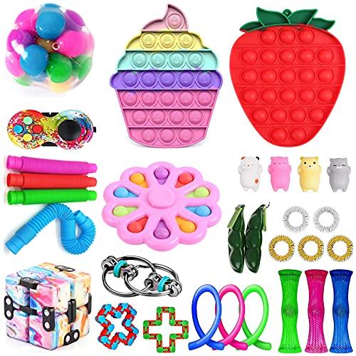 Mais recente conjunto de brinquedos sensoriais, Fidget Toys Pack para adultos e crianças, Push Bubble Pop, Fidget Toys Relief e Anti-Ansiedade para crianças e adultos, TDAH, Autismo Stress Toy Buddle (M1)
