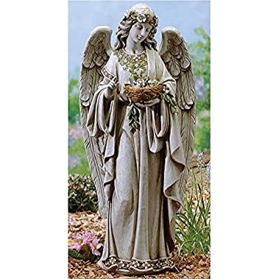 "Roman 24"" Joseph's Studio Angel Holding Bird's Nest Outdoor Garden Statue"