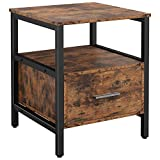 IRONCK End Tables for Living Room, Side Table with with Drawer,Industrial Nightstand Wood Look Accent Home Furniture, Thicker MDF Board with Frame, Vintage Brown