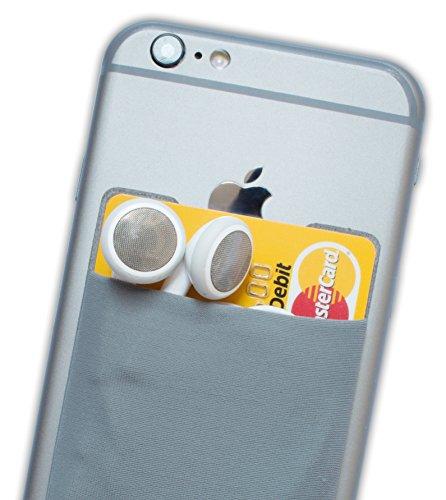 Atkolé Wallet - Funda-Cartera Adhesiva (con pegamento) para Celular con cinta adhesiva (Gris) de 3M. Un accesorio indispensable para celulares, un tarjetero y soporte para auriculares