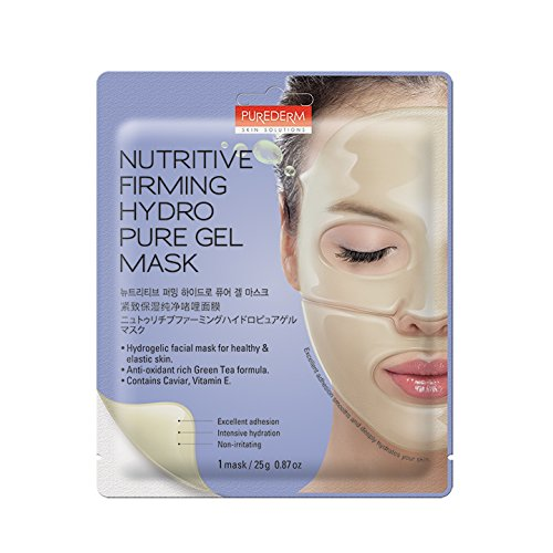 Purederm Anti-Wrinkle Face Mask: Best 5-Pack Sheet Anti-Ageing Facial Mask With Caviar/Best Cleansing, Hydrating, Brightening Hydrogel Mask To Tighten Pores, Prevent Wrinkles, Replenish Skin