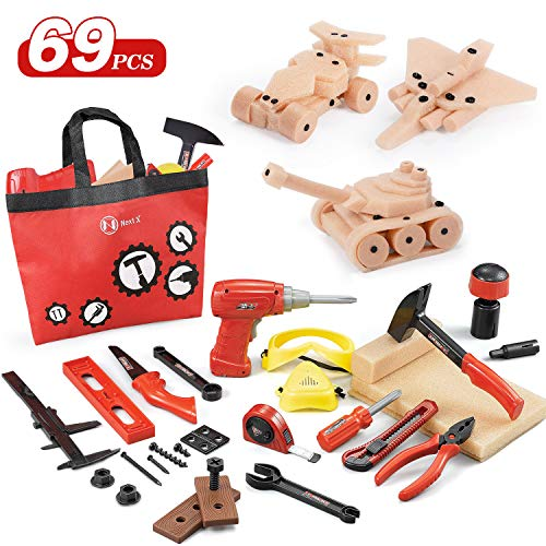 NextX Toolbox Fix It Kids Learning STEM Young Builder 69pcs Tool Kit Toddler Toys