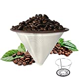 Paperless Stainless Steel Pour Over Coffee Filter - Reusable Coffee Cone Dripper for Chemex, Hario, Bodum and Other Carafes