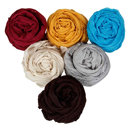 BMC Womens Fancy Crinkle Shawl Scarf Fashion Cotton Scarves Mixed Solid Color Lot-Set 2