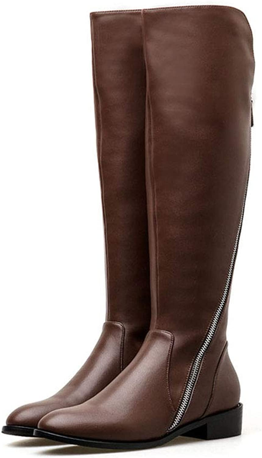 Women's Long Boots Fall Winter Knee Knight Boots Ladies Zipper High Boots Leather Mid-Calf Thick Heel Women's Biker Boots (color   Brown, Size   36)