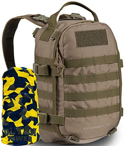 Wisport Leichter Outdoorrucksack Damen & Herren | Tagesausflug Rucksack | kompakter Backpack klein für Mädchen Jungen Jugendliche | Sparrow 16 Liter+ Ultrapower Halstuch, Camo: RAL-7013