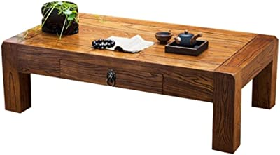 Coffee Tables Solid Wood Balcony Low Table with Drawers Wooden Tea Table Laptop Table (Color : Wood Color, Size : 50x50x30cm)