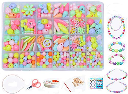 Jewellery Making Kit- Beads Set for Kids Adults Children Craft DIY Necklace Bracelets Letter Alphabet Colorful Acrylic Crafting Beads Kit Box with Accessories (color 4#)