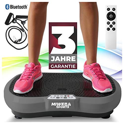 Miweba Sports Fitness 2D Vibrationsplatte MV100-3 Jahre Garantie - 3 multidimensionale Vibrationszonen - Oszillierend - 250 Watt (Grau)