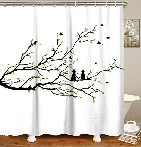 LIVILAN Cherry Blossom Duschvorhang-Set mit 12 Haken Cat Shower Curtain1