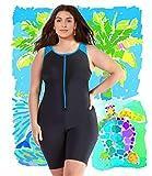 Woman Swimsuit Onepiece Plus Size XL-6XL Aquatard Unitard Aerobics Sports (2XL 18-20 US)