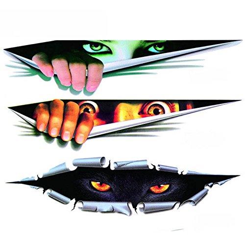 3 X coup d'oeil aux yeux horribles du monstre, autocollants de voiture / autocollants ordinateur portable iPad windows, murs, camions, motos, motos.