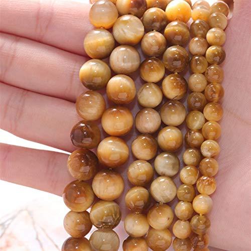 OYZK Perlas espaciadoras de Piedra Natural Rose Rose Rojo Tigre Ojo Suelta Beads para la joyería de Costura DIY Pulsera 15'6/8 / 10mm (Color : 10, Item Diameter : 6mm (Approx 60pcs))