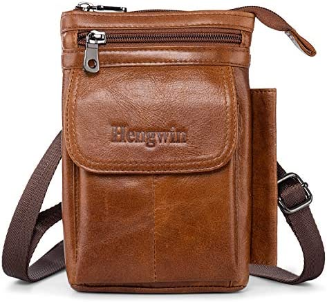 Hengwin Genuine Leather Cell Phone Bag for iPhone 12 Pro Max 11 Pro Max XS Max XR Belt Clip product image
