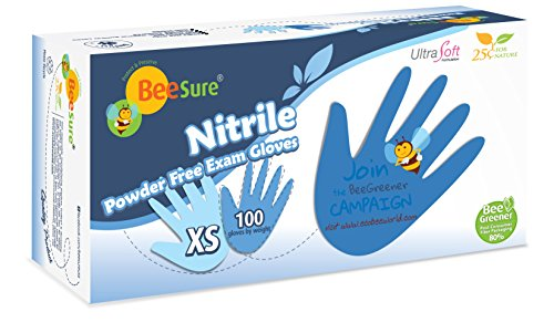 BeeSure BE1115 Nitrile Powder Free Exam Gloves, XSmall (Pack of 100)