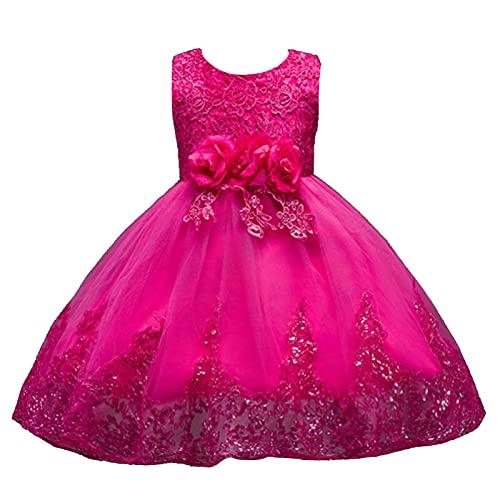 IEFIEL Vestido Fiesta Boda Niña Vestido Largo de Princesa con Flores Vestido Elegante de Dama de Honor Vestido Largo de Gasa para Cumpleaños Ceremonias T Fucsia 2-3 años