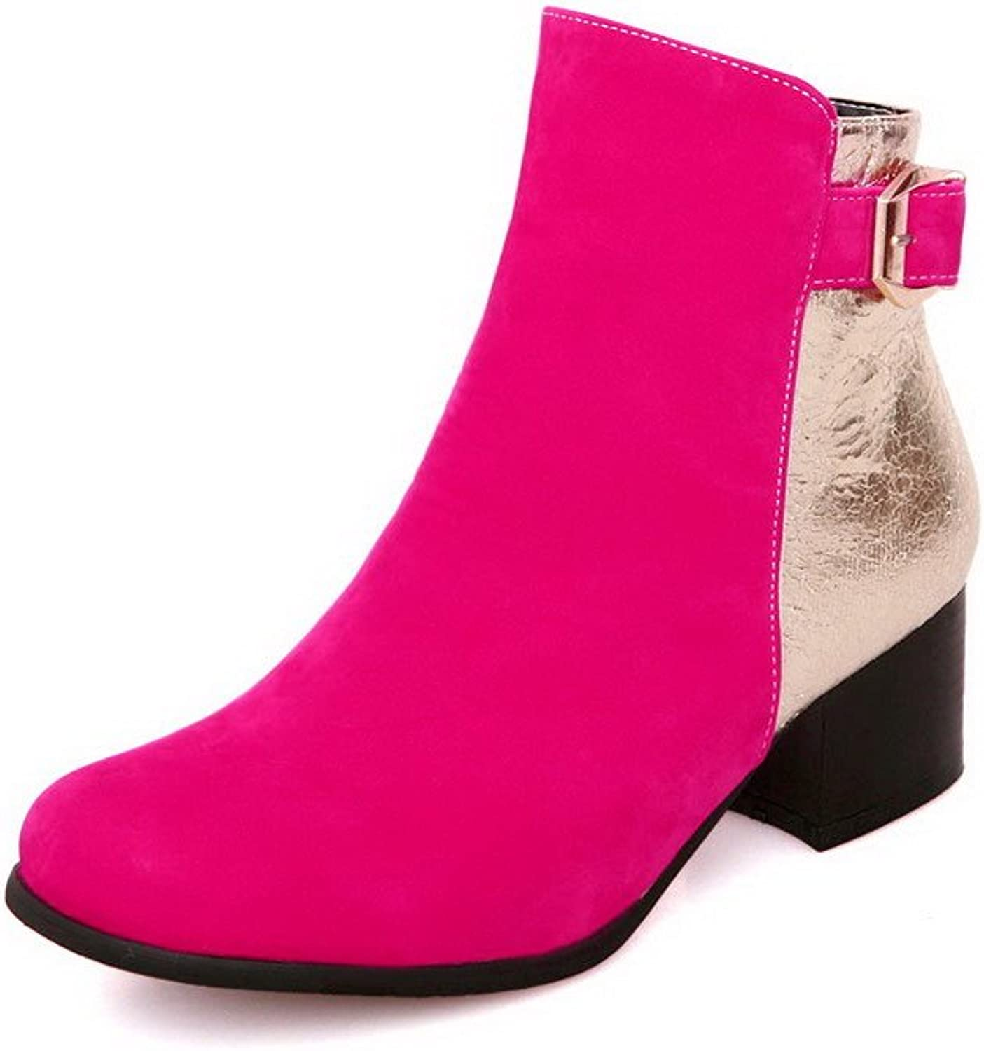 WeenFashion Women's Kitten-Heels Assorted color Round Closed Toe Soft Material Zipper Boots