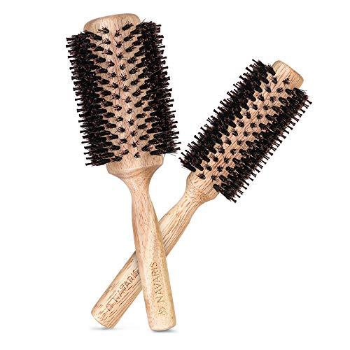 Navaris Set 2x Spazzola Tonda in Bambù Ø 25mm 40mm - Spazzole per Capelli - Legno Naturale e Setole Cinghiale - Hair Brush Eco-friendly Volumizzante