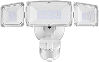 LED Security Lights, 35W Motion Sensor Light Outdoor, GLORIOUS-LITE 3 Head Flood Light with Dusk to Dawn Mode, 5500K-6000K, IP 65 Waterproof, ETL Certified for Garage, Yard, Porch, Entryways - White
