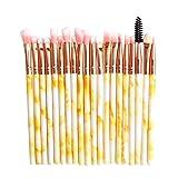 Maxpex - Juego de 20 brochas de maquillaje profesional con patrón de mármol para niñas, brochas de maquillaje para base, sombra de ojos, maquillaje en polvo y crema