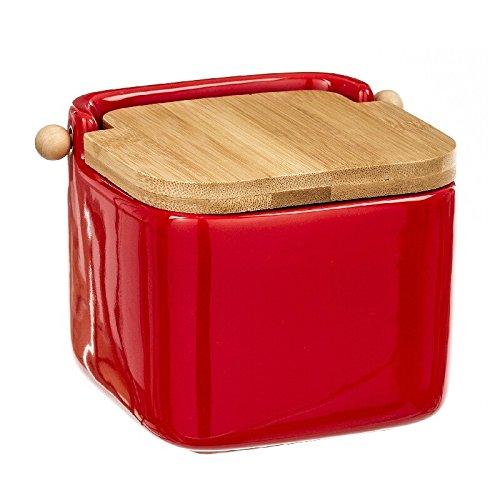 D'CASA Salero Rojo cerámica con Tapa de bambú, 12x12x11 cm