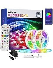 Adikao Ledstrip, 20 m, wifi, RGB, 5050 SMD, met IR-afstandsbediening, 23 toetsen, bediening via app, muzieksynchronisatie, kleurverandering, voor binnen- en buitendecoratie