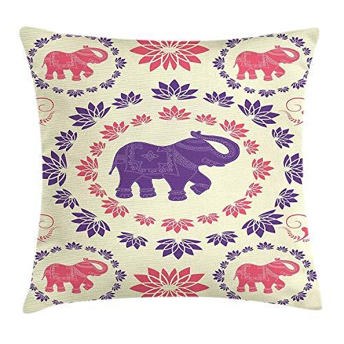 Butlerame Funda de Almohada de Tiro de Elefante, Flores de Elefantes Coloridos, Festival de Animales Bailando, Arte étnico Tradicional, 18 x 18 Pulgadas, Rosa púrpura Crema
