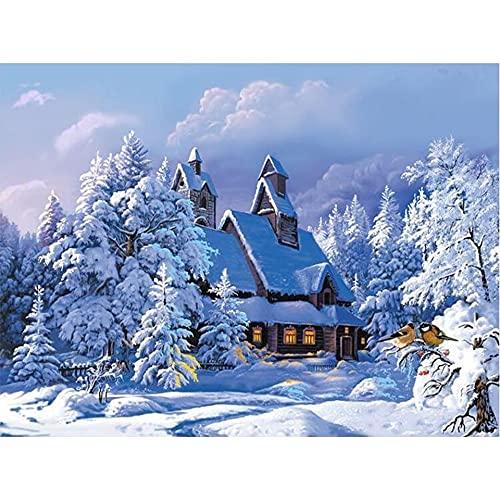 5D DIY diamante pintura paisaje casa de invierno completo redondo diamantes de imitación bordado punto de cruz decoración regalo A15 30x40cm