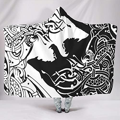 Twelve constellations Manta Viking Skoll y Hati Fenrir Wolf de gran tamaño, supersuave, manta india, apta para habitaciones con aire acondicionado, regalo para adultos, color blanco, 150 x 200 cm