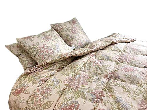 Floral Goose Down & Feather Comforter Blanket 100% Organic Cotton Cover for Summer Spring, Light Weight,600+FP,Twin/Twin XL 68x90inch